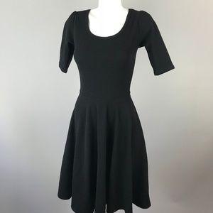 LuLaRoe Nicole Womens Solid Black 3/4 Sleeve Dress